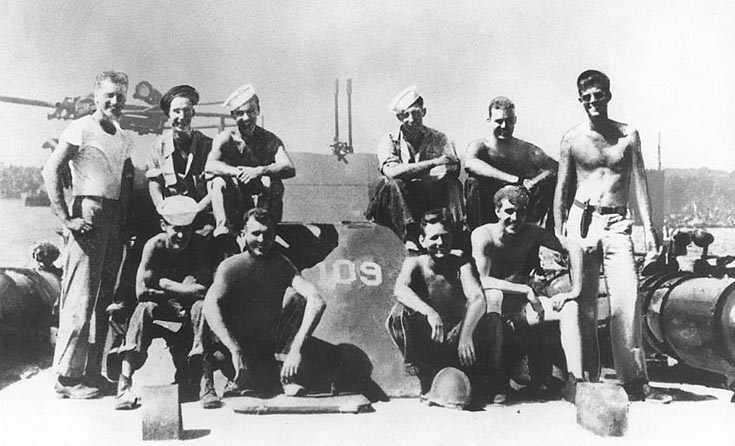 Crew of PT-109. JFK standing far right.